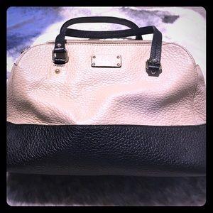 Kate Spade double zipper shoulder bag, black/cream